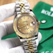 خرید ساعت مچی مردانه از علی اکسپرس 18K Gold dial Luxury Datejust- suit both man and women Automatic glide smooth second hand watch AAA watches 49