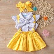 خرید لباس دخترانه از علی اکسپرس 2020 New Summer Kids Clothes Children's Polka Dot Suspender Skirt 3Pcs Baby Clothes Set Baby Girl Sets