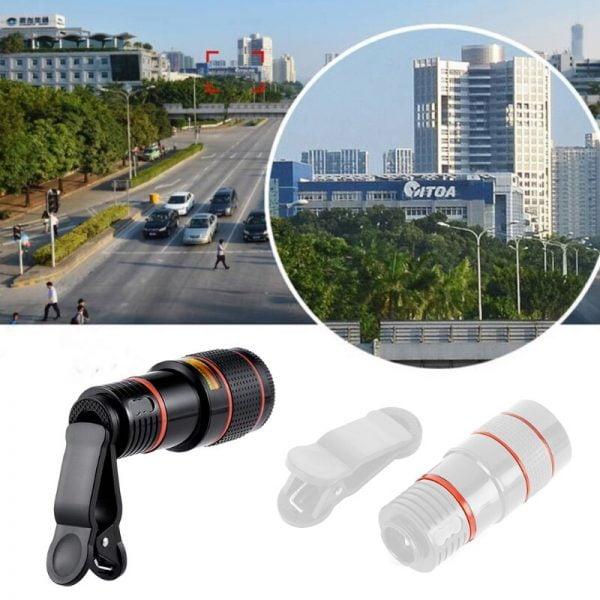خرید لنز دوربین گوشی از علی اکسپرس 2020 New Universal 20X Clip-On Telephoto Telescope Camera Mobile Phone Zoom lens for most