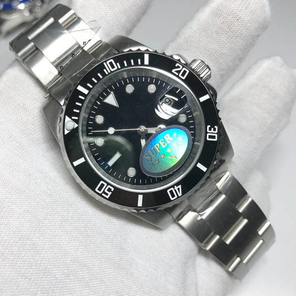 خرید ساعت مچی مردانه از علی اکسپرس AAA watch ceramic bezel sapphire glass Men luxury automatic mechanical Watches Black sub-mariner glide smooth second hand