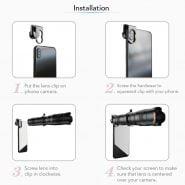خرید لنز دوربین گوشی از علی اکسپرس APEXEL APL-JS36XJJ04 HD 36X Metal Single-tube Telescope Telephoto Lens Optic Phone Camera Lens Monocular with Mini Selfie Tripod