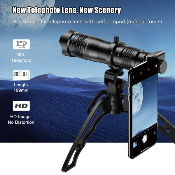 خرید لنز دوربین گوشی از علی اکسپرس APEXEL APL-JS36XJJ04 HD 36X Metal Single-tube Telescope Telephoto Lens Optic Phone Camera Lens Monocular with Mini Selfie Tripod