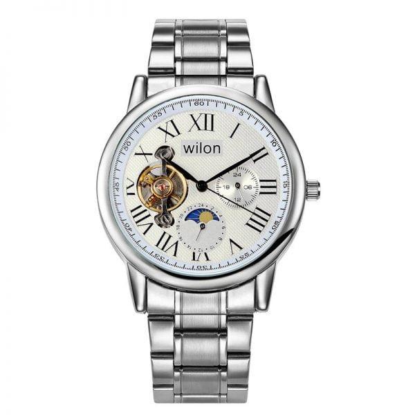 خرید ساعت مچی مردانه از علی اکسپرس Automatic mechanical men's watch hollow sun moon star phases Roman dial vintage Alloy men clock comfortable to wear wilon 2029