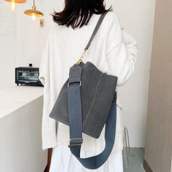 خرید کیف زنانه از علی اکسپرس Brand Design Women Bucket PU Leather Shoulder Bag Large Capacity Lady Crossbody Bags Wide Strap Female Solid Color Totes Handbag