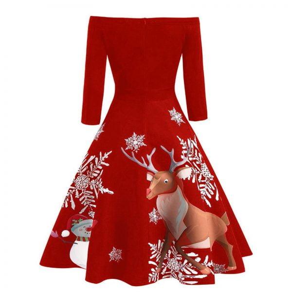 خرید لباس مجلسی از علی اکسپرس Christmas Woman Dress Off Shoulder Retro Evening Party Dress Long Sleeve Winter Dresses For Women 2020 Vintage Dresses Vestidos