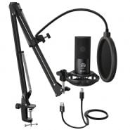 خرید میکروفون از علی اکسپرس  FIFINE Studio Condenser USB Computer Microphone Kit With Adjustable Scissor Arm Stand Shock Mount for YouTube Voice Overs-T669