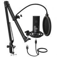 خرید میکروفون از علی اکسپرس  FIFINE Studio Condenser USB Computer Microphone Kit With Adjustable Scissor Arm Stand Shock Mount for YouTube Voice Overs-T669