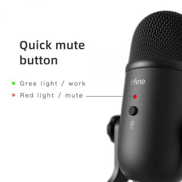 خرید میکروفون از علی اکسپرس FIFINE USB Microphone for Recording/Streaming/Gaming,professional microphone for PC,Mic Headphone Output&Volume Control-K678
