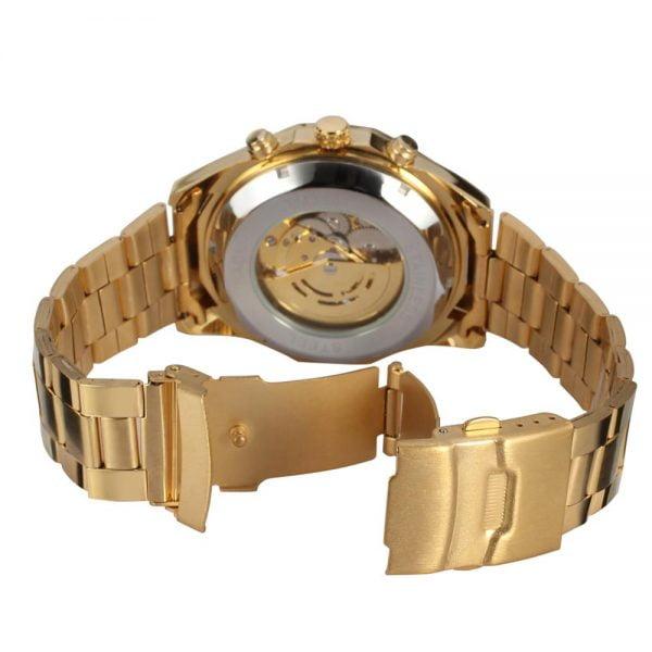 خرید ساعت مچی مردانه از علی اکسپرس Forsining Luxury Classic Gold Black Dial Roman Numerals Business Men's Mechanical Steel Band Watch