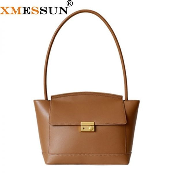 خرید کیف زنانه از علی اکسپرس Handle Bag Women Retro Handbag Genuine Leather Shoulder Totes Underarm Vintage Top Handle Bag Female Big Subaxillary Bags Clutch