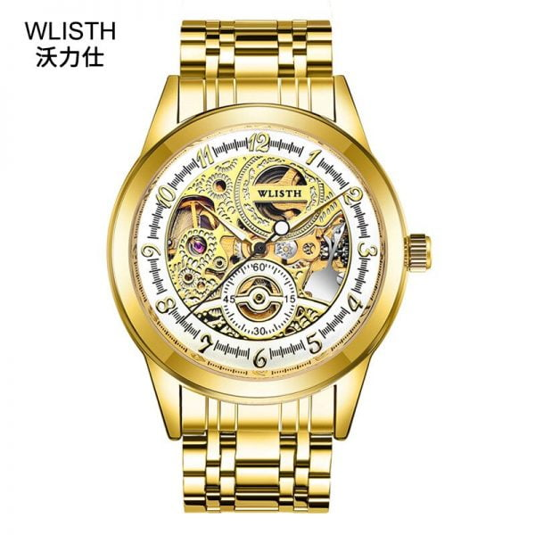 خرید ساعت مچی مردانه از علی اکسپرس Hot Men's Watches Automatic Mechanical Gold Male Clock Skeleton Dial Waterproof Stainless Steel Hollow Sports Watch Reloj Hombre