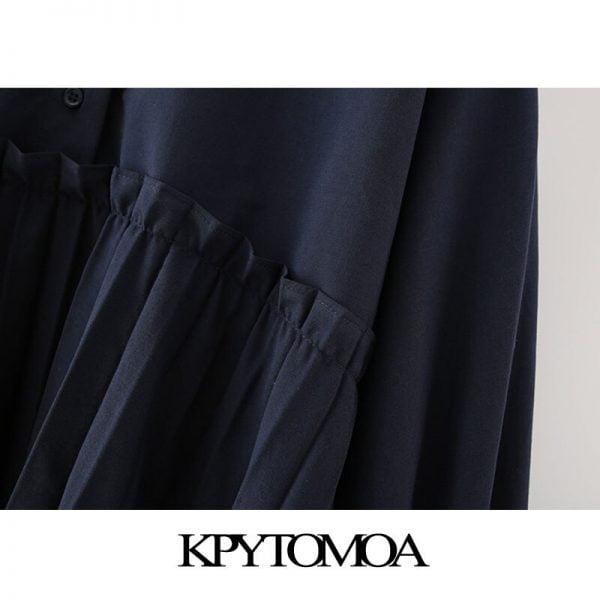 خرید لباس زنانه از علی اکسپرس KPYTOMOA Women 2020 Chic Fashion With Buttons Pleated Mini Shirt Dress Vintage Lapel Collar Long Sleeve Female Dresses Vestidos