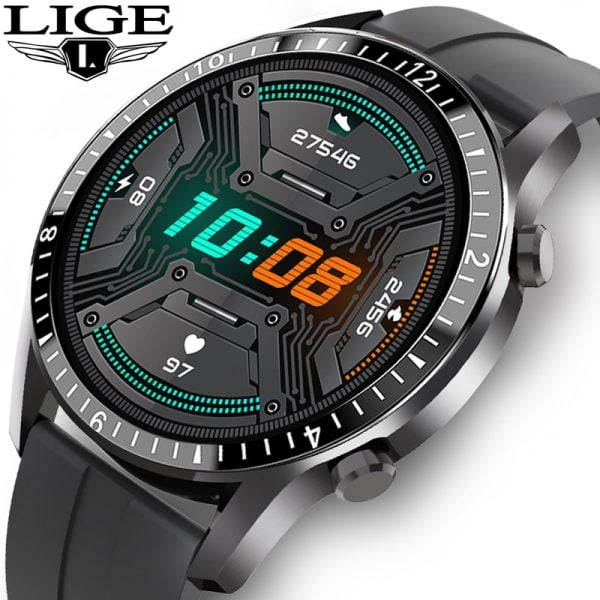 خرید ساعت هوشمند از علی اکسپرس LIGE 2020 New Smart Watch Men Full Touch Screen Sport Fitness Watch IP68 Waterproof Bluetooth For Android ios smartwatch Men box
