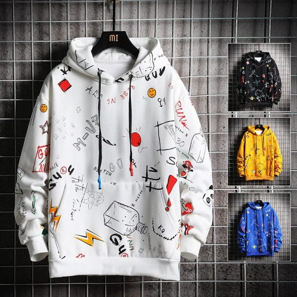 خرید هودی از علی اکسپرس Leefona Autumn Men's Hoodies Men Fashion Graffiti Sweatshirt Male Hip Hop Harajuku Japanese Streetwear Yellow Hoodie Men M-5XL