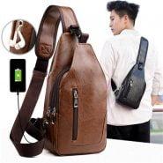 خرید کیف مردانه از علی اکسپرس Male Shoulder Bag USB Charging Crossbody Chest Bag For Men Anti Theft Chest Waist Pack Trip Messenger Bags Single Strap Back Bag