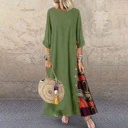 خرید لباس زنانه از علی اکسپرس Plus Size Dresses For Womon Patchwork Long Sleeves O-Neck Party Dress Button High Low Hem Large Size Loose Dress Autumn Vestidos