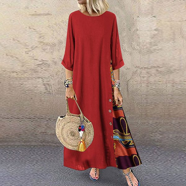 خرید لباس زنانه از علی اکسپرس Plus Size Dresses For Womon Patchwork Long Sleeves O-Neck Party Dress Button High Low Hem Large Size Loose Dress Autumn Vestidos