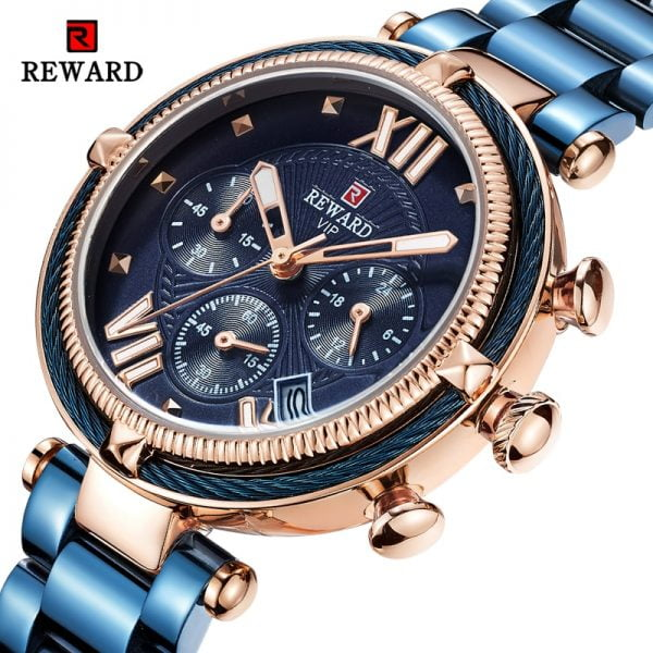 خرید ساعت زنانه از علی اکسپرس REWARD Luxury Fashion Women Watches Waterproof Casual Quartz Ladys Watch for Woman Dress Ladies Wristwatches Relogio Feminino