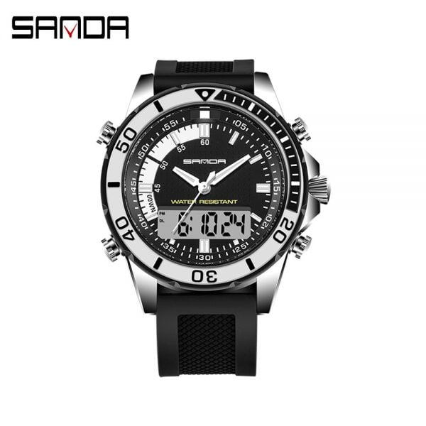 خرید ساعت مچی مردانه از علی اکسپرس SANDA Watch Business Men Watches Waterproof MultiFunction Sport Watch Electronic wrist watch Casual Luminous LED Digital Watch