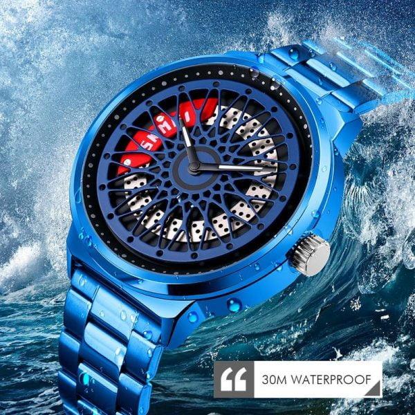 خرید ساعت مچی مردانه SKMEI Creative Men Quartz Watches Hollow Dial Design Fashion Stainless Steel Waterproof Sport Watches Men reloj hombre 9217