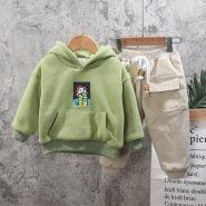 خرید لباس پسرانه از علی اکسپرس Thick Christmas Clothes Autumn Baby Boys Girls Warm Hooded Top Sport Pants Infant Kids Children Tracksuit Toddler Clothes