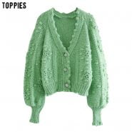 خرید لباس گرم زنانه از علی اکسپرس Toppies 2020 Autumn Winter Green Cardigans Women Knitted Jacket Dot Lantern Sleeve Cardigan Sweater