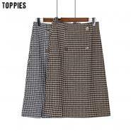 خرید دامن از علی اکسپرس Toppies Vintage Plaid Skirts Women High Waist Skirts Double Breasted Ladies Streetwear