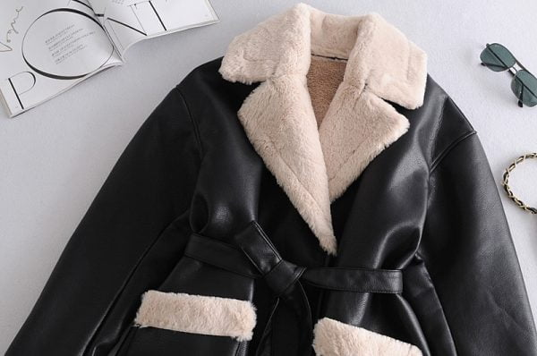 خرید کت زنانه از علی اکسپرس Toppies Winter Faux Fur Jacket Coat Women Black Faux Leather Parkas Fleece Thick Warm Outwear Belt