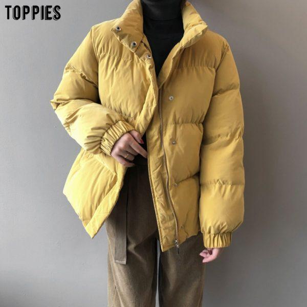 خرد لباس گرم زنانه از علی اکسپرس Toppies Winter Women Parkas Padded Clothes Puffer Jacket Coat Casual Outfits Korean Fashion Outwear