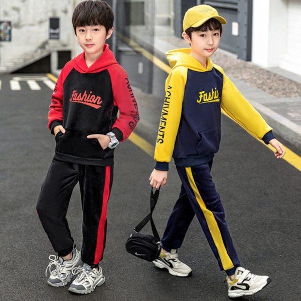 خرید لباس پسرانه از علی اکسپرس V-TREE 2Pcs Golden Velvet Boys Clothing Sets 2020 New Double-sided Velvet Autumn And Winter Plus Velvet Girls Thicken Suit