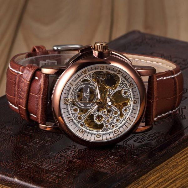 خرید ساعت مچی مردانه از علی اکسپرس Vintage KS Real Leather Strap Skeleton Black Dial Dress Mens Automatic Wrap Wrist Mechanical Watch Relogio /KS036