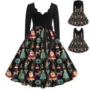 خرید لباس مجلسی زنانه ااز علی اکسپرس Vintage Woman Dress V Neck Long Sleeve Christmas 1950s Housewife Evening Party Dress With Sashes Winter Dresses For Women