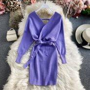 خرید لباس مجلسی زنانه از علی اکسپرس YornMona New Autumn Winter Women Knitted Dress V-neck Batwing Sleeve Sweater Dress Lady Elegant Sashes Bottoming Dress Vestidos