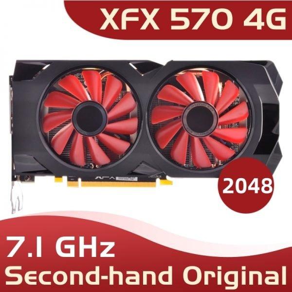 خرید کارت گرافیک used xfx 570 4g 256bit GDDR5 desktop xfx graphics cards video card amd rx 570 4gb rx 570 radeon rx 570 video card 4gb