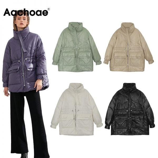 لباس زمستانی زنانه Aachoae Pure Winter Lightweight Down Jacket Women Thick Warm