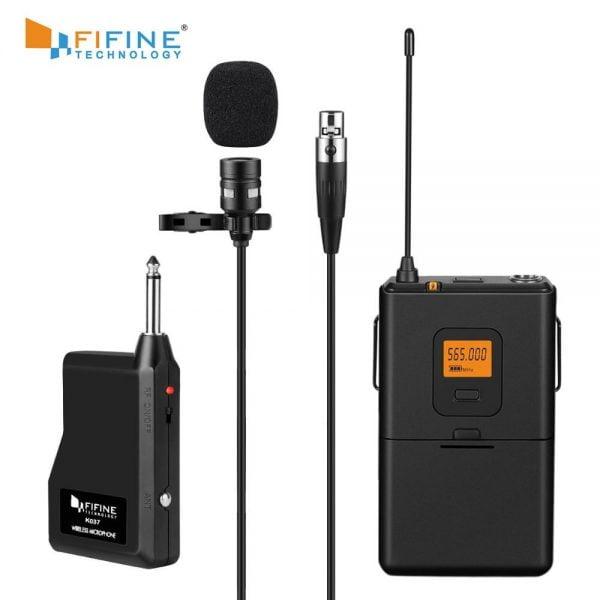 خرید میکروفون رادیویی Fifine 20-Channel UHF Wireless Lavalier Lapel Microphone System with Bodypack Transmitter
