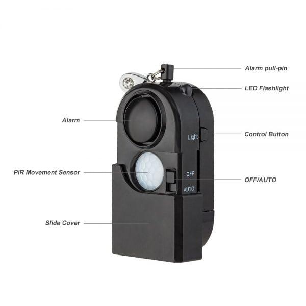 سنسور دورکردن حیوانات KERUI Security Alarm 120dB Camping Travel Mini PIR Infrared Motion Sensor