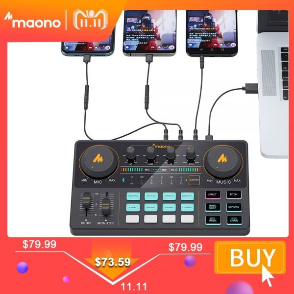 خرید تجهیزات تولید پادکست MAONOCASTER AM200 Microphone Mixer Digital Audio Interface