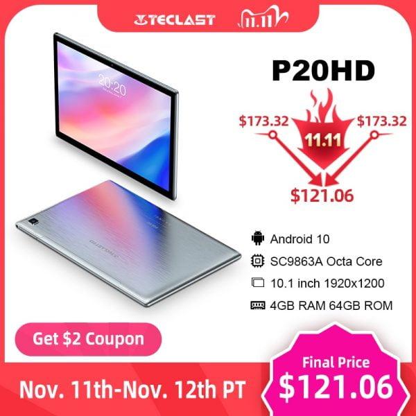 خرید تبلت اندروید 10 تکلست Teclast P20HD 10.1″ Android 10 Tablet 1920×1200 SC9863A Octa Core