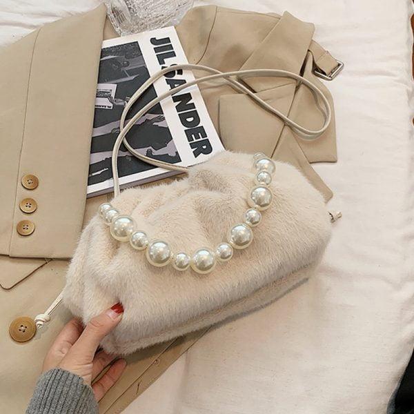 خرید کیف زنانه پولو VICUNA POLO Fashion Faux Fur Messenger Bag For Women With Fake Pearl Strap Small Ladies