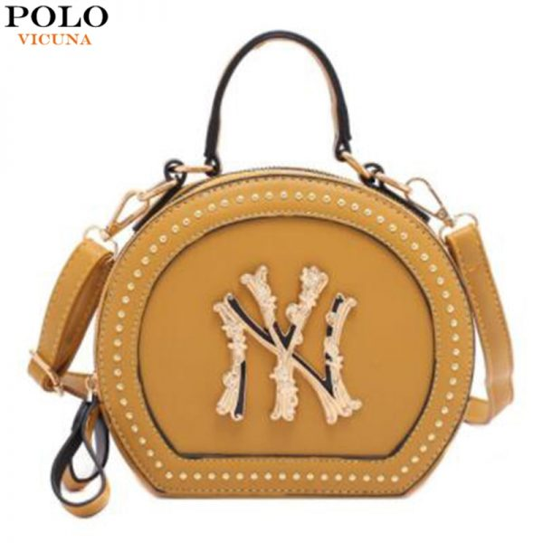 خرید کیف زنانه پولو VICUNA POLO Fashion Leather Womens Messenger Bag Vintage Small Round Crossbody