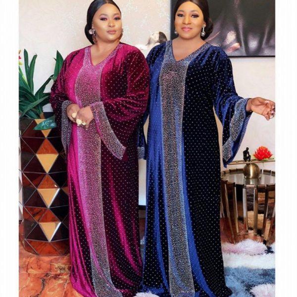 خرید لباس زنانه آفریقایی Velvet African Dresses For Women 2020