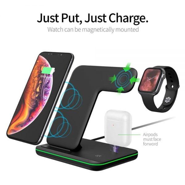 شارژر وایرلس آیفون 15W Fast Qi Wireless Charger Stand For iPhone 12 11 XS XR X 8 3 in 1