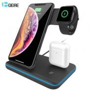 شارژر وایرلس آیفون 15W Fast Qi Wireless Charger Stand For iPhone 12 11 XS XR X 8 3 in 1
