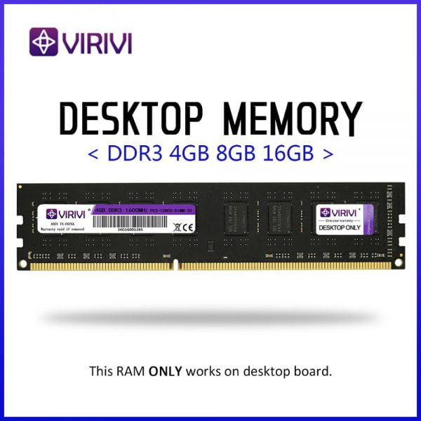 خرید رم از علی اکسپرس Desktop Ram VIRIVI DDR3 4GB 8GB 1333 1600 1866MHz Desktop Memory 240pin