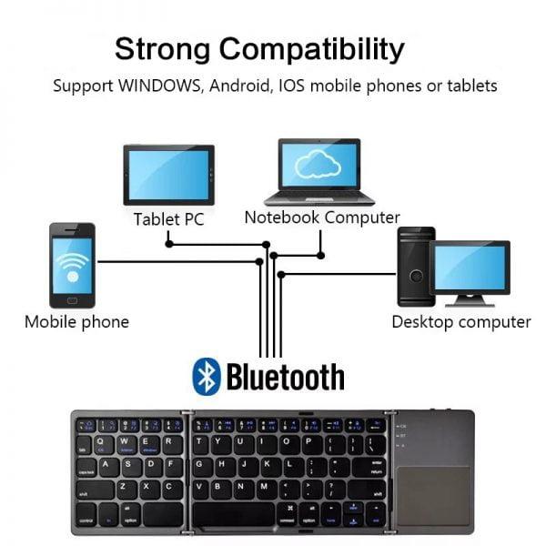 خرید کیبورد انعطاف پذیر Mini Foldable Keyboard Bluetooth Wireless Keypad Mini Triple