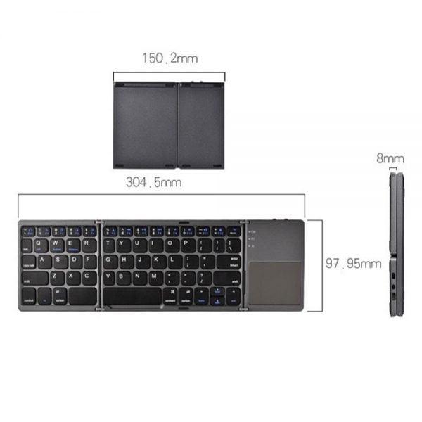 خرید صفحه کلید تاشو Mini Foldable Keyboard Bluetooth Wireless Keypad with Touchpad for iOS