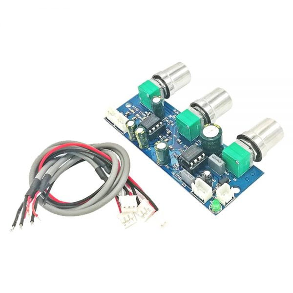 NE5532 Super Bass Preamp Board Dual Channel Single Power Low Pass Filter Board Preamp Board DC10-24V