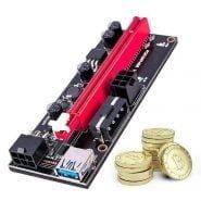 خرید کارت توسعه گرافیک برای ماینینگ 5/10pcs PCI-E pcie Riser 009 Express 1X 4x 8x 16x Extender PCI E USB Riser 009S Dual 6Pin Adapter Card SATA 15pin for BTC Miner