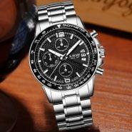 خرید ساعت مچی مردانه از علی اکسپرس LIGE Luxury Brand Watches Men Six pin Full Stainless steel Military Sport Quartz Watch Man Fashion Casual Business Wristwatches